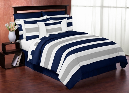Navy Blue and Gray Stripe 4pc Teen Twin Bedding Set Collection only