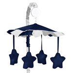 Navy Blue and Gray Stripe Musical Baby Crib Mobile by Sweet Jojo Designs