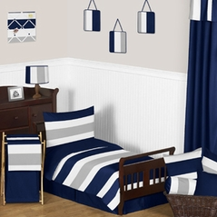 Navy Blue and Gray Stripe Toddler Bedding - 5pc Set by Sweet Jojo Designs