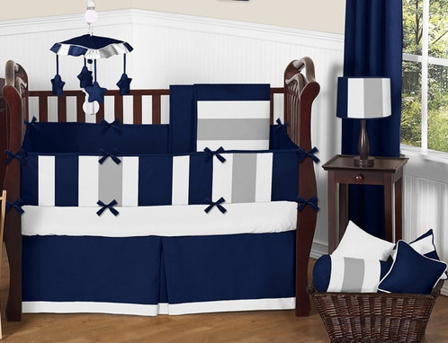 Navy Blue and Gray Stripe Baby Bedding - 9pc Crib Set by Sweet Jojo Designs - Click to enlarge