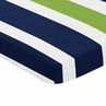 Navy Blue and Green Baby or Toddler Fitted Mini Portable Crib Sheet for Stripe Collection by Sweet Jojo Designs