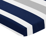 Navy Blue and Grey Baby Fitted Mini Portable Crib Sheet for Stripe Collection by Sweet Jojo Designs