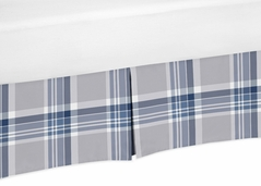 Navy Blue and Grey Crib Bed Skirt for Plaid Baby Bedding Sets by Sweet Jojo Designs