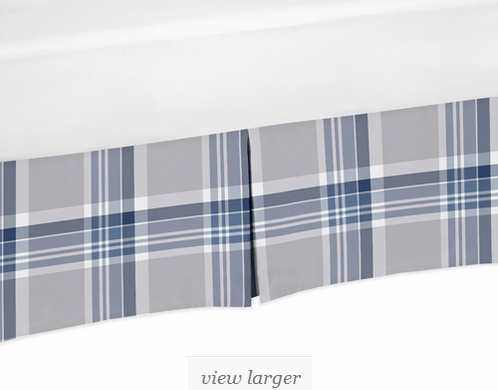 Navy Blue And Grey Crib Bed Skirt For Plaid Baby Bedding