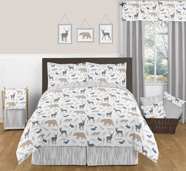 Blue And Grey Deer Bear Wall Art Room Decor Hangings For Baby Nursery Kids Childrens Woodland Animals Collection By Sweet Jojo Designs Set Of 3