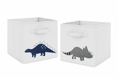Navy Blue and Grey Modern Dino Foldable Fabric Storage Cube Bins Boxes Organizer Toys Kids Baby Childrens for Mod Dinosaur Collection by Sweet Jojo Designs - Set of 2