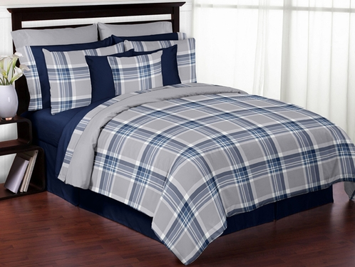 Navy Blue and Grey Plaid 3pc Boys Teen Full / Queen Bedding Set Collection by Sweet Jojo Designs - Click to enlarge