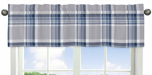 Navy Blue and Grey Plaid Collection Window Valance - Click to enlarge