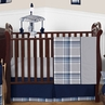 Navy Blue and Grey Plaid Boys Baby Bedding - 11pc Crib Set by Sweet Jojo Designs