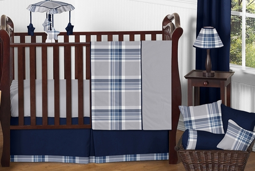 Navy Blue And Grey Plaid Boys Baby Bedding 11pc Crib Set By Sweet Jojo Designs