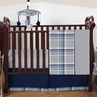 Navy Blue and Grey Plaid Boys Baby Bedding - 4pc Crib Set by Sweet Jojo Designs