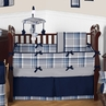 Navy Blue and Grey Plaid Boys Baby Bedding - 9pc Crib Set by Sweet Jojo Designs