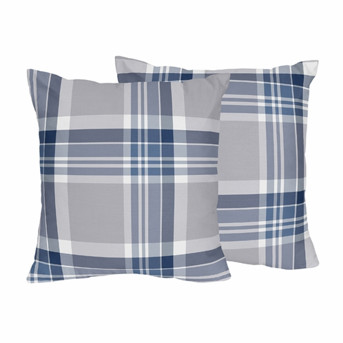 Navy Blue And Grey Plaid Boys Decorative Accent Throw Pillows Set New Blue And Grey Decorative Pillows