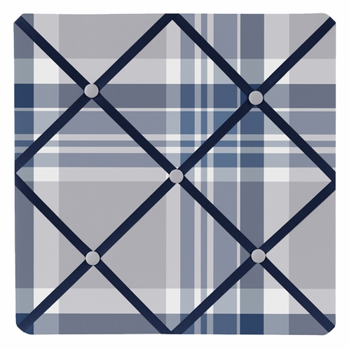 Navy Blue and Grey Plaid Boys Fabric Memory/Memo Photo Bulletin Board - Click to enlarge