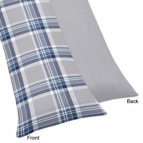 Navy Blue and Grey Plaid Boys Full Length Double Zippered Body Pillow Case Cover - Click to enlarge