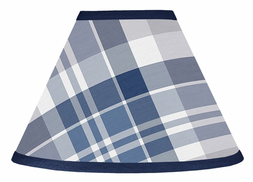 Navy Blue and Grey Plaid Boys Lamp Shade by Sweet Jojo Designs - Click to enlarge
