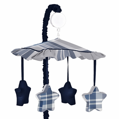Navy Blue and Grey Plaid Boys Musical Baby Crib Mobile by Sweet Jojo Designs - Click to enlarge