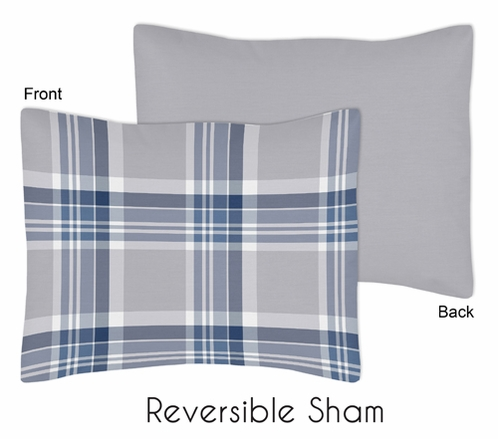Navy Blue and Grey Plaid Boys Pillow Sham by Sweet Jojo Designs - Click to enlarge