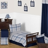 Navy Blue and Grey Plaid Boys Toddler Bedding - 5pc Set by Sweet Jojo Designs