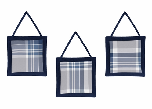 Navy Blue and Grey Plaid Wall Hanging Accessories by Sweet Jojo Designs - Click to enlarge