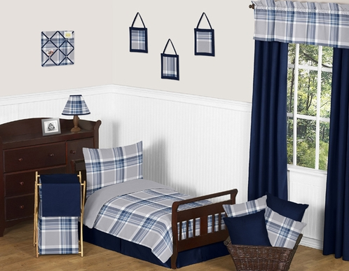 Navy Blue and Grey Plaid Boys Toddler Bedding - 5pc Set by Sweet Jojo Designs - Click to enlarge