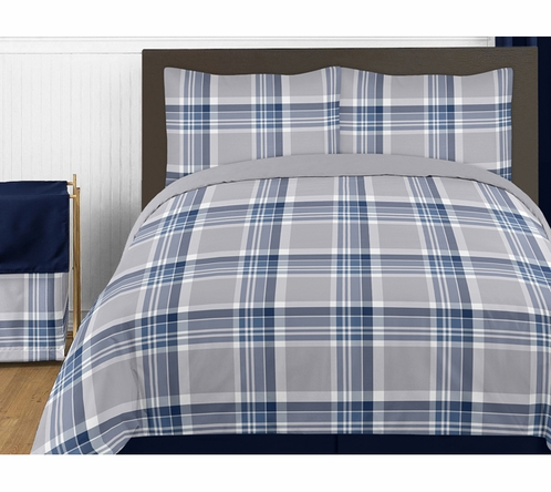 Navy Blue and Grey Plaid 4pc Twin Boys Teen Bedding Set Collection by Sweet Jojo Designs - Click to enlarge