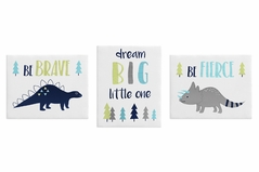 Navy Blue and Grey Modern Dinosaur Wall Art Room Decor Hangings for Baby, Nursery, Kids and Childrens Mod Dino Collection by Sweet Jojo Designs - Set of 3