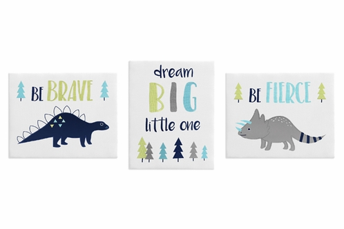 Navy Blue And Grey Modern Dinosaur Wall Art Room Decor Hangings For Baby,  Nursery,