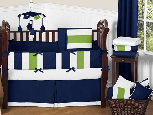 Navy blue and lime green stripe baby bedding 9pc crib set by sweet jojo designs only - Blue and green bedding sets ...