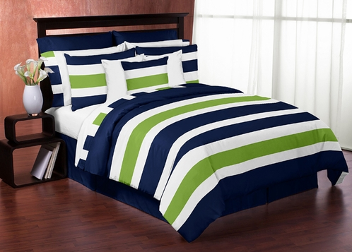 Navy Blue and Lime Green Stripe 3pc Teen Full / Queen Bedding Set Collection - Click to enlarge
