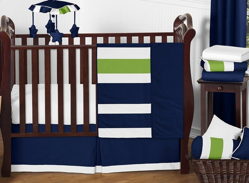 Navy Blue And Lime Green Stripe Baby Bedding 11pc Crib