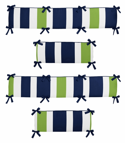 Navy Blue and Lime Green Stripe Collection Crib Bumper by Sweet Jojo Designs - Click to enlarge