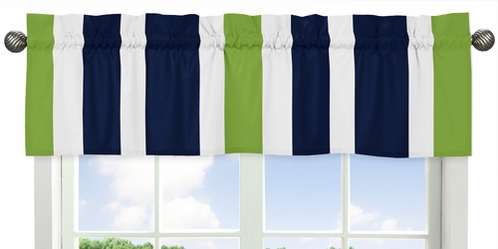 Navy Blue and Lime Green Stripe�Collection Window Valance by Sweet Jojo Designs - Click to enlarge