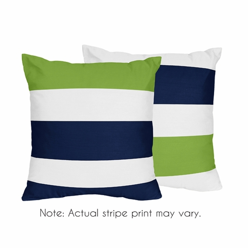 Navy Blue And Lime Green Stripe Decorative Accent Throw Pillows Set Of 2