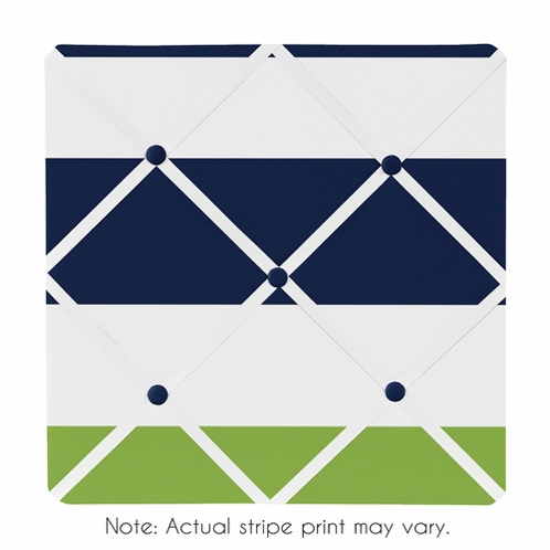 Navy Blue and Lime Green Stripe Fabric Memory/Memo Photo Bulletin Board - Click to enlarge
