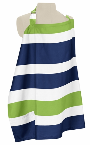 Navy Blue and Lime Green Stripe Infant Baby Breastfeeding Nursing Cover Up Apron by Sweet Jojo Designs - Click to enlarge