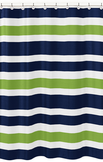Navy Blue And Lime Green Stripe Kids Bathroom Fabric Bath Shower Curtain Only 3999