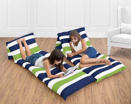 Navy Blue and Lime Green Stripe Kids Teen Floor Pillow Case Lounger Cushion Cover by Sweet Jojo Designs - Click to enlarge