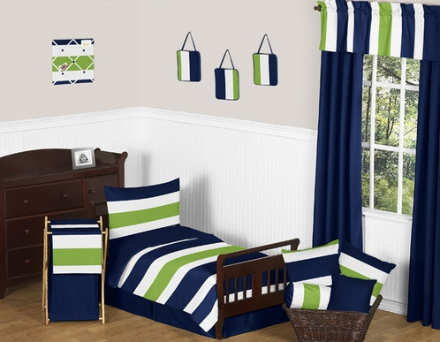 Navy Blue and Lime Green Stripe Toddler Bedding - 5pc Set by Sweet Jojo Designs - Click to enlarge