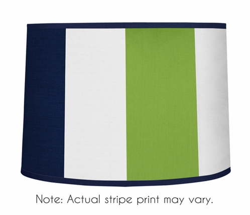 Navy Blue and Lime Green Stripe Lamp Shade by Sweet Jojo Designs - Click to enlarge