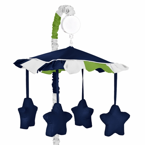Navy Blue and Lime Green Stripe Musical Baby Crib Mobile by Sweet Jojo Designs - Click to enlarge