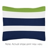 Navy Blue and Lime Green Stripe Pillow Sham by Sweet Jojo Designs