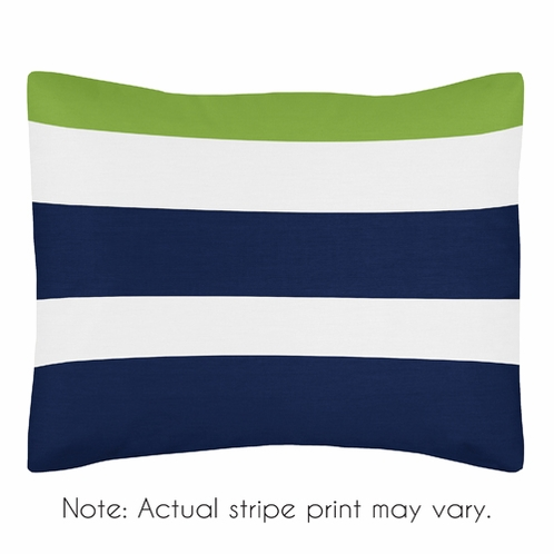 Navy Blue and Lime Green Stripe Pillow Sham by Sweet Jojo Designs - Click to enlarge