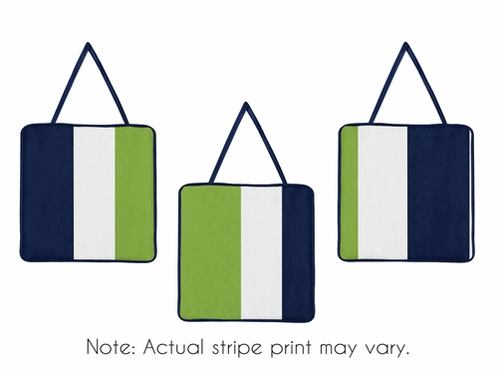 Navy Blue and Lime Green Stripe Wall Hanging Accessories by Sweet Jojo Designs - Click to enlarge