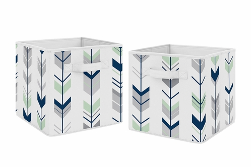 Navy Blue And Mint Woodland Mod Arrow Foldable Fabric Storage Cube Bins  Boxes Organizer Toys Kids