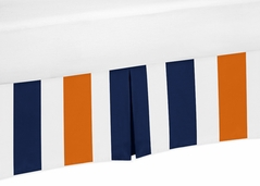 Navy Blue and Orange Crib Bed Skirt for Stripe�Baby Bedding Sets by Sweet Jojo Designs