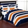 Navy Blue and Orange Stripe 3pc Teen Full / Queen Bedding Set Collection