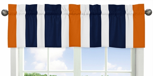 Navy Blue and Orange Stripe�Collection Window Valance by Sweet Jojo Designs - Click to enlarge