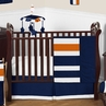Navy Blue and Orange Stripe Baby Bedding - 11pc Crib Set by Sweet Jojo Designs