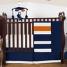 Navy Blue and Orange Stripe Baby Bedding - 4pc Crib Set by Sweet Jojo Designs